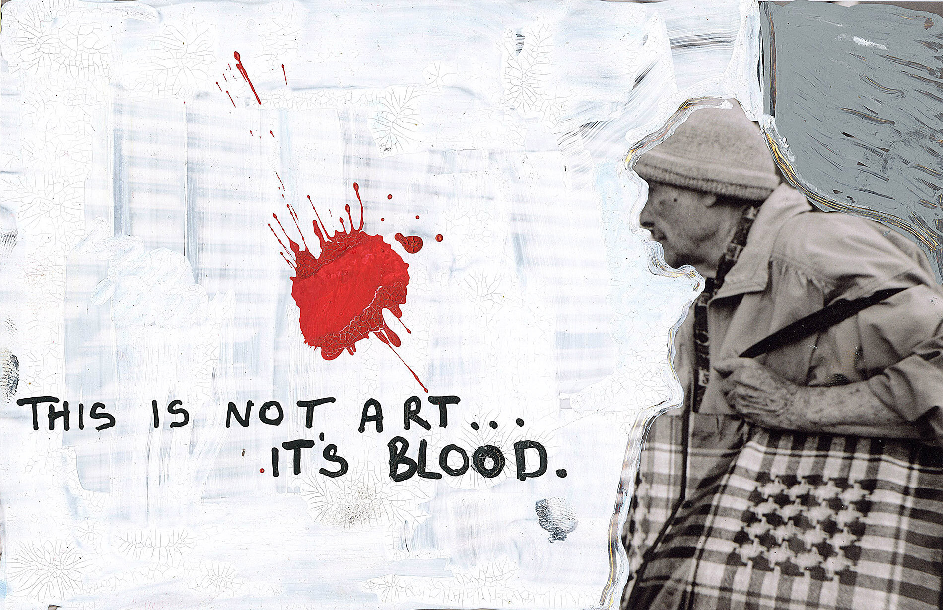 'This is not Art. Its Blood' 2019, Berlin, Inkjet photograph & Acrylic, 10x15cm