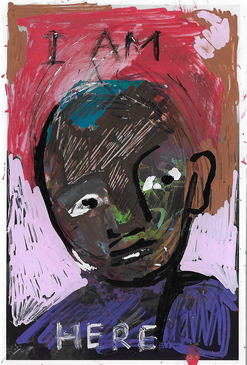 'I AM HERE' 2017, Berlin, Inkjet photograph & Acrylic, 10x15cm