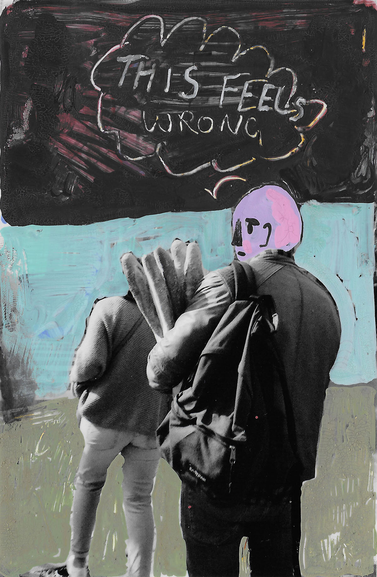 'This Feels Wrong' 2018, Berlin, Inkjet photograph & Acrylic, 10x15cm