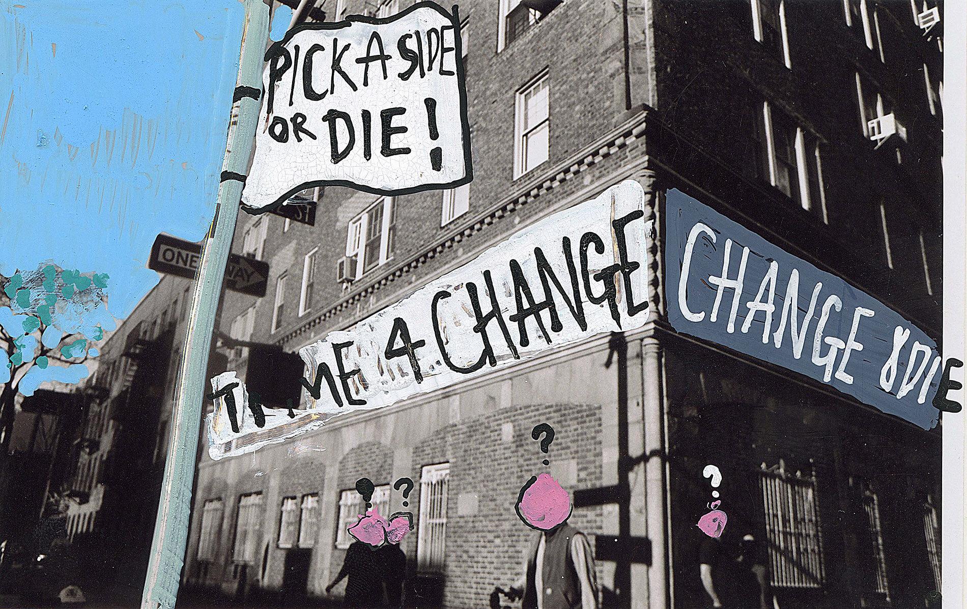 'Change or Die' 2015, Berlin, Inkjet photograph & Acrylic, 10x15cm
