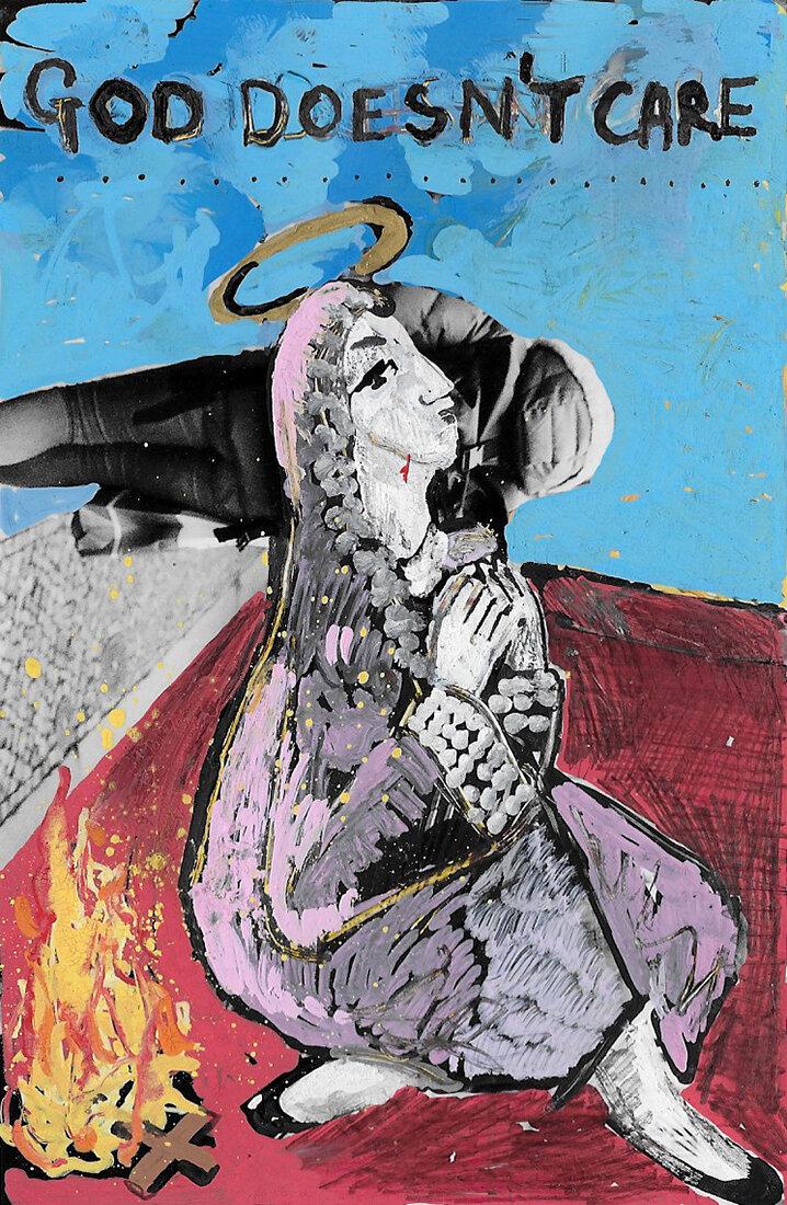 'God doesn't Care' 2016, Berlin, Inkjet photograph & Acrylic, 10x15cm