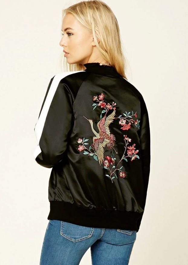 $32.90 - Embroidered Souvenir Bomber Jacket