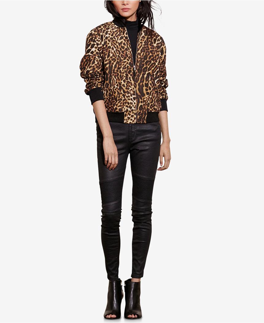 $198.00 -   Lauren Ralph Lauren Ocelot-Print Bomber Jacket