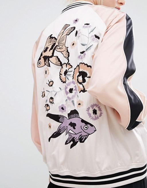 $97.00 - Monki Embroidered Back Bomber Jacket