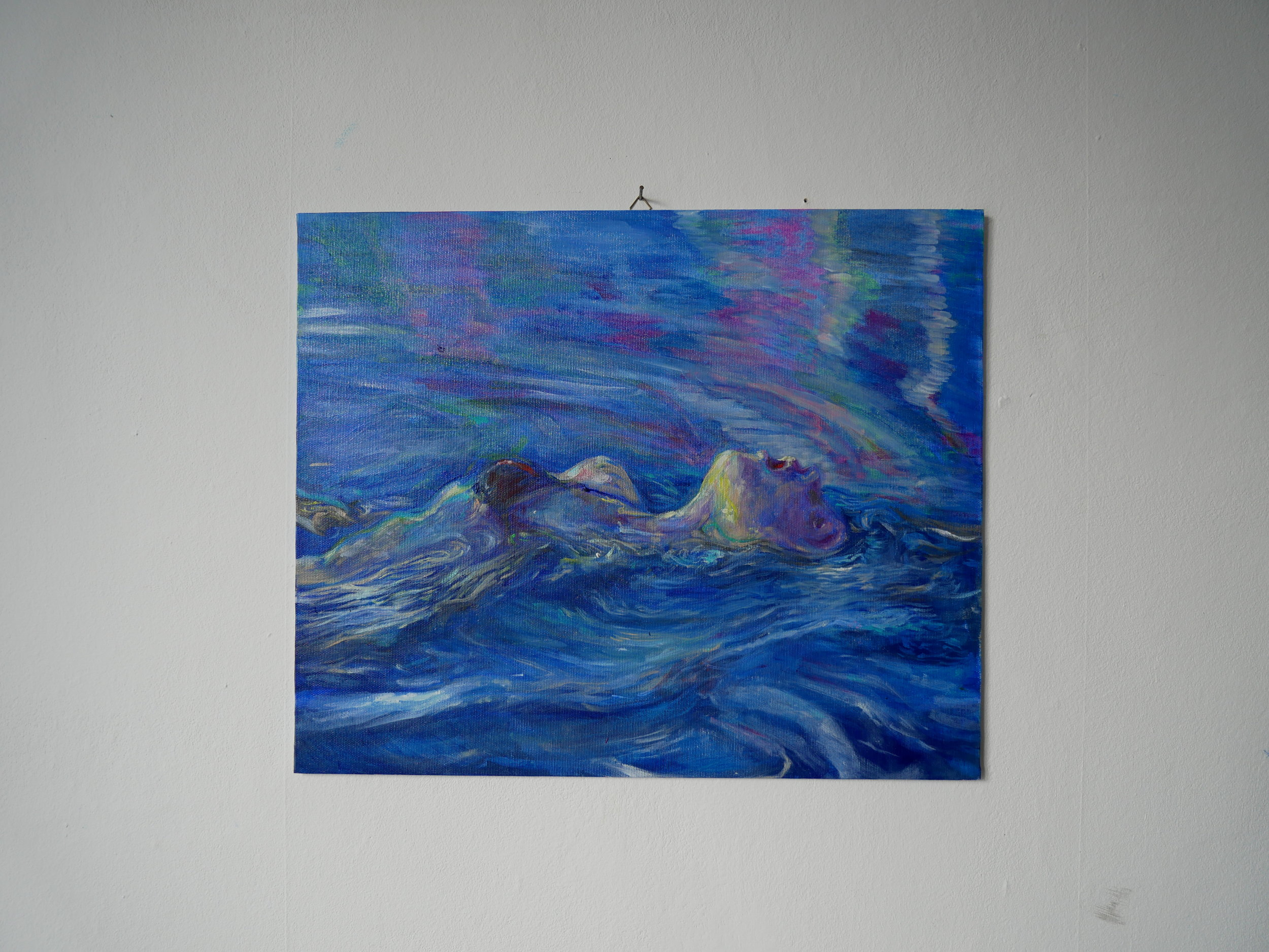 Backstroke 2 , Oil on cardboard. 38 x 46 cm.