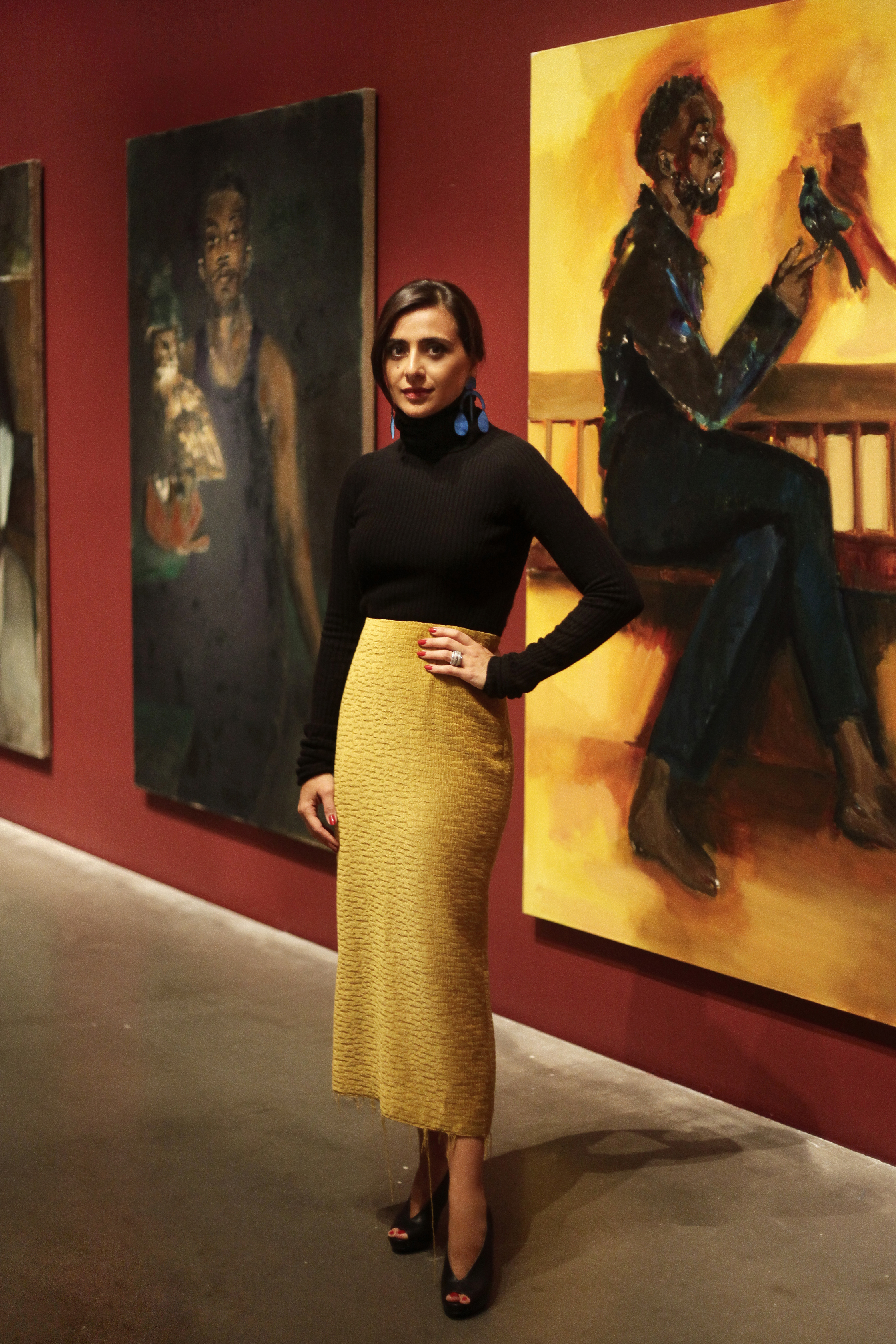 NAZY AT LYNETTE YIADOM-BOAKYE'S SOLO EXHIBITION 'UNDER SONG FOR A CIPHER' AT THE NEW MUSEUM.            PHOTO BY RAUL TOVAR