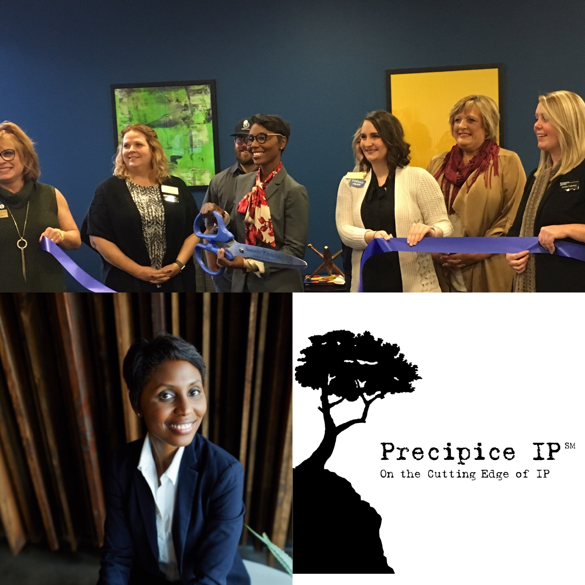 Angela J Grayson (Principal, Precipice IP, PLLC) and the Bentonville-Bella Vista Chamber of Commerce ribbon cutting