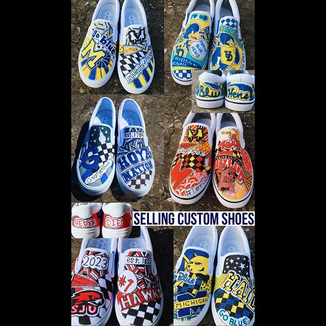 Check out @sweetsolesbyjen and order your custom shoes for college!!! Totally custom, no two shoes are the same!  #collegeshoes #universityofmiami #universityofmarylandcollegepark #universityofmichigan #delawareuniversity #anyschoolyouchoose