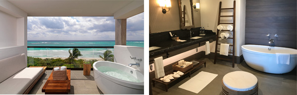 riviera-maya-tubs in doors and jacuzzi on the deck for each room