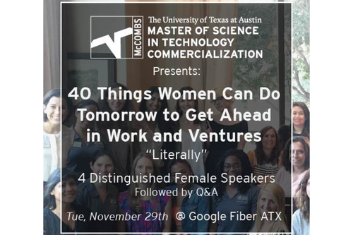 """<a href=https://www.facebook.com/events/1034207130020922/ target=_blank> <span style=""""font-weight: bold;"""">40 Things Women Can Do To Get Ahead</span><br>Speaker<br>11/29/2016</a>"""
