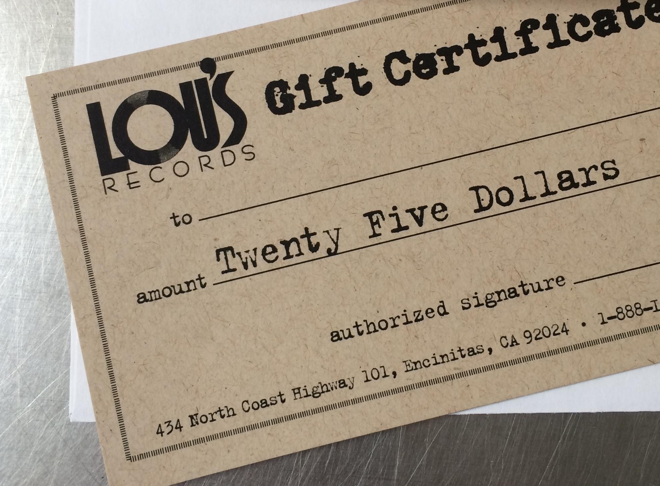 Gift Certificates & Lou's T-shirts -