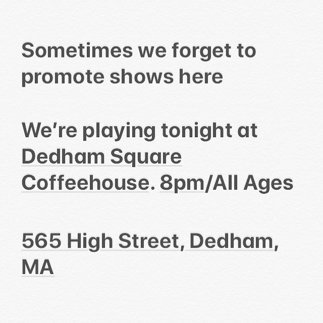 It's gonna be a fun one. . . . . #rocknroll #livemusic #boston #spacebetween #coffee #dedham #tompetty #originalmusic #bands #allages