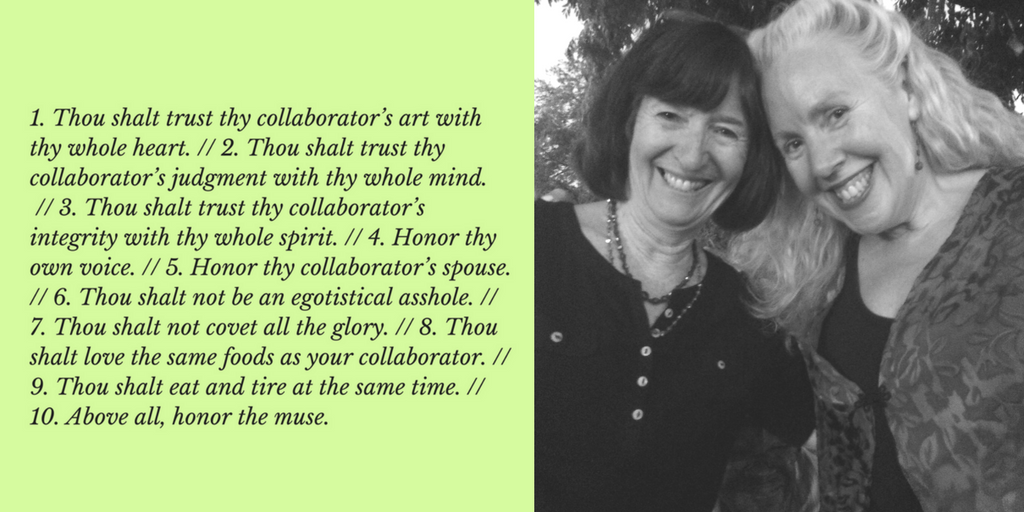10 Commandments of Collaboration by Maureen Seaton and Denise Duhamel. Photo by Julie Marie Wade. Maureen (left) and Denise (right).