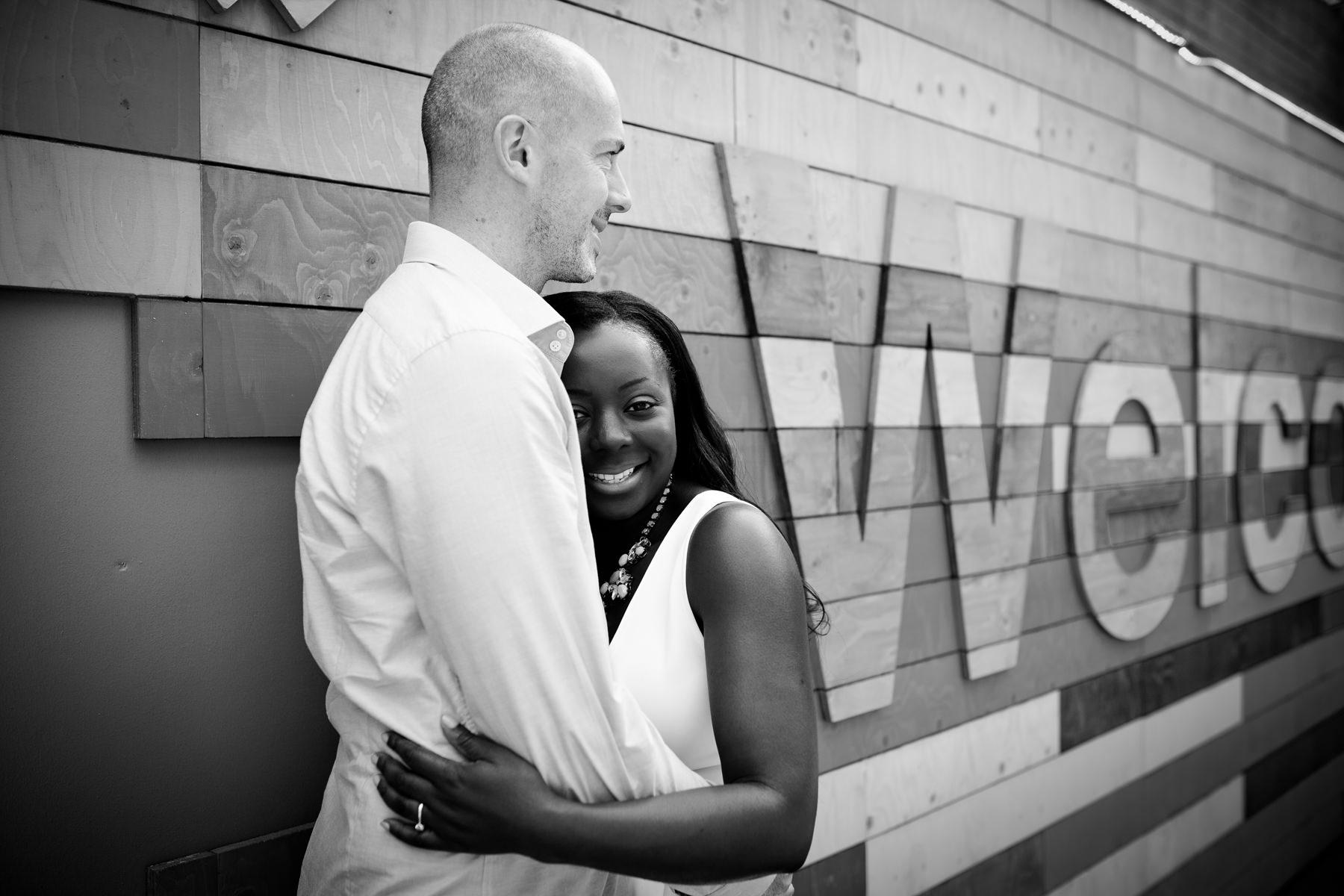 London Southbank engagement photographer couple portraits black and white