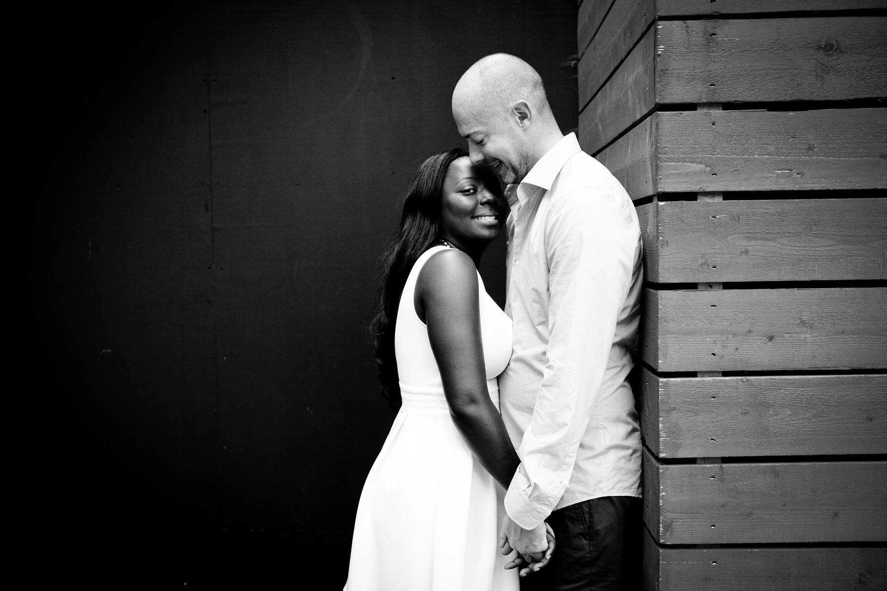 London-Southbank-engagement-photographer-BW-couple-portrait
