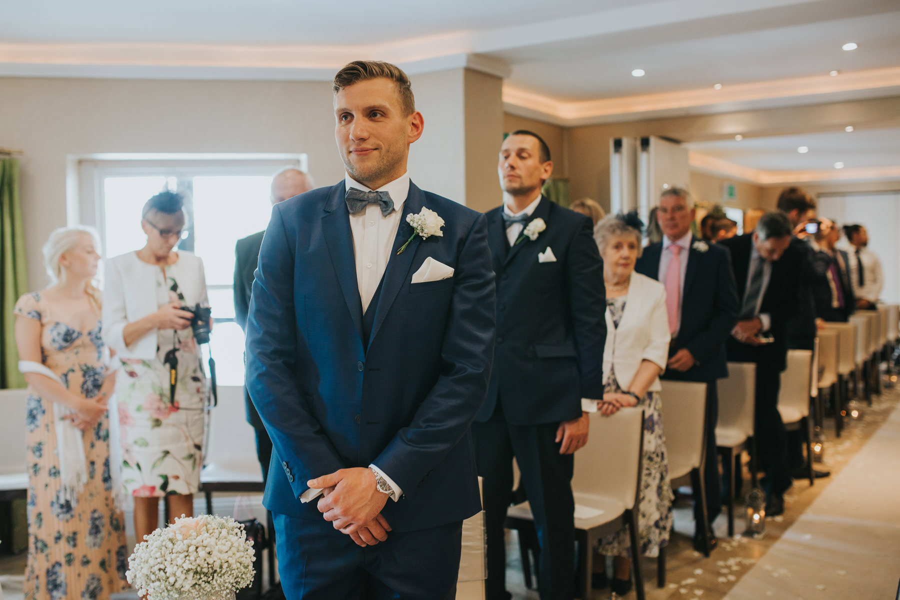 The Bingham Wedding Photographer London--groom waiting bride coming down aisle-CRL-124.jpg