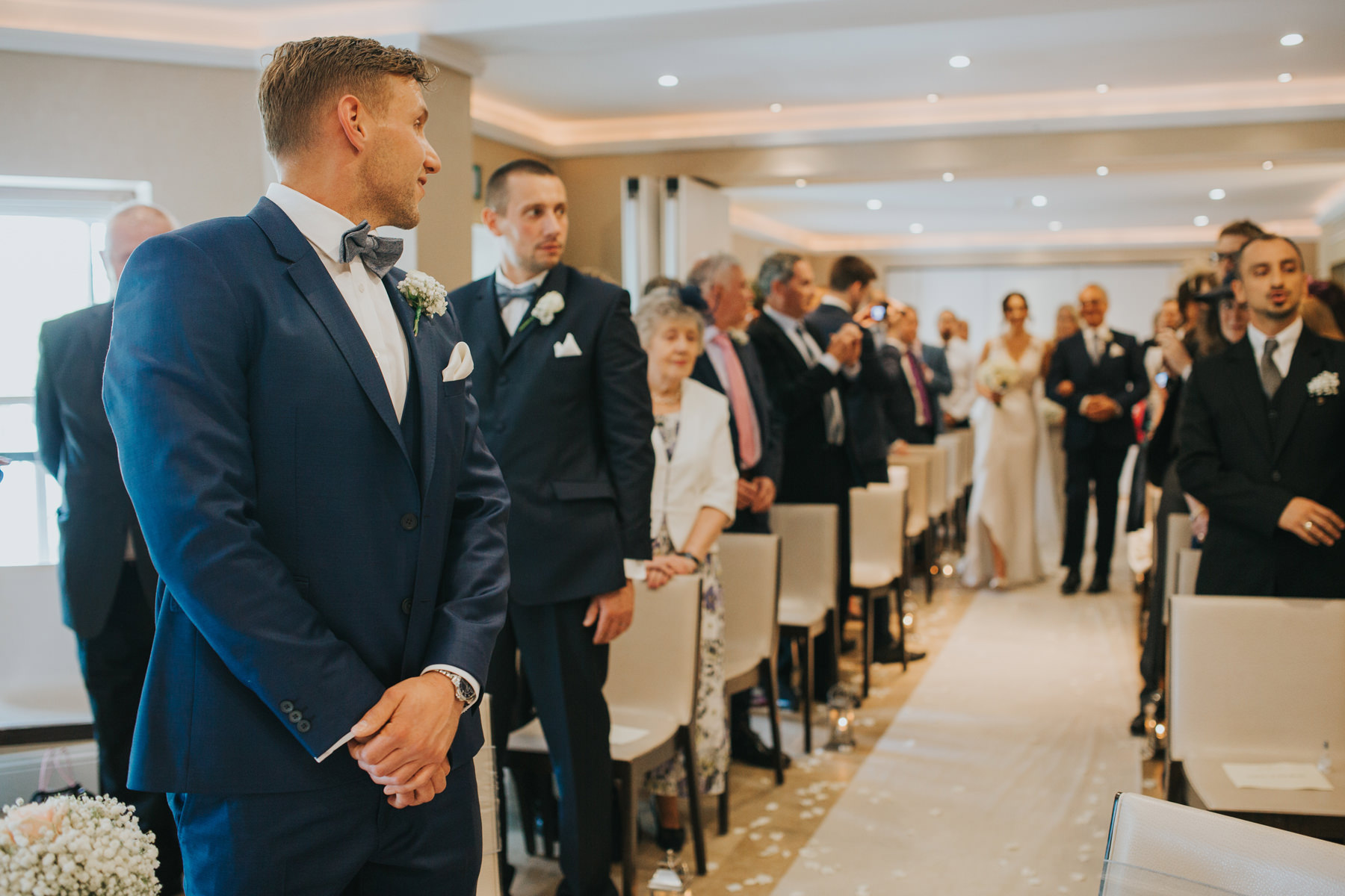 The Bingham Wedding Photographer London--groom waiting bride coming down aisle-CRL-128.jpg