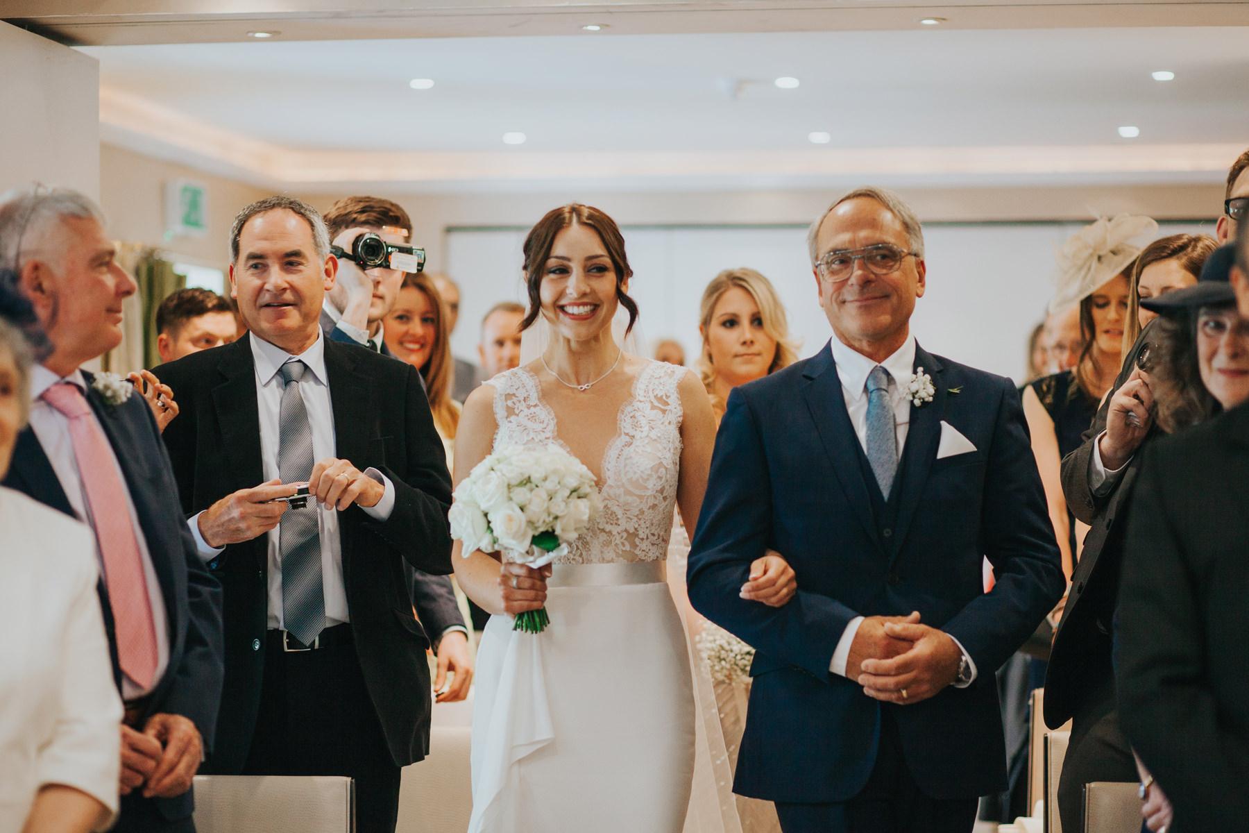 The Bingham Wedding Photographer London--groom waiting bride coming down aisle-CRL-129.jpg