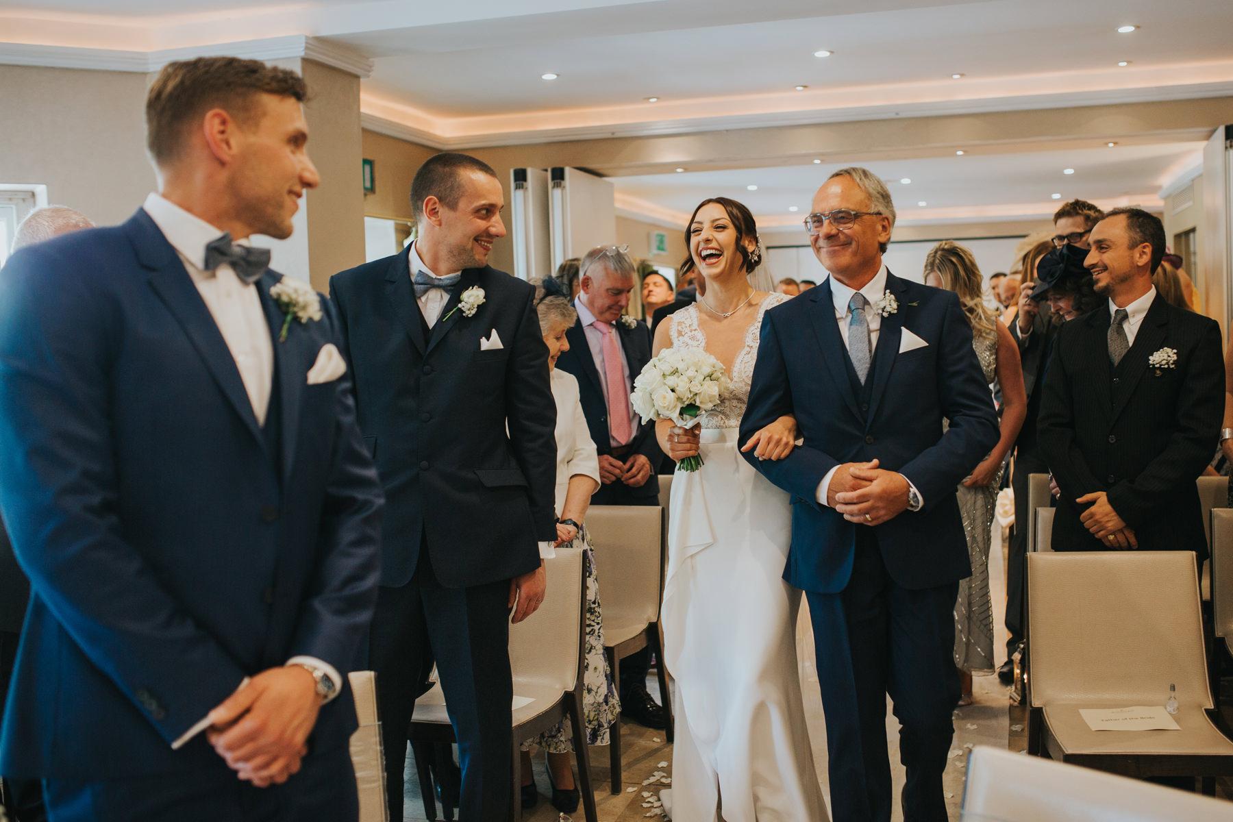 The Bingham Wedding Photographer London--groom waiting bride coming down aisle-CRL-131.jpg