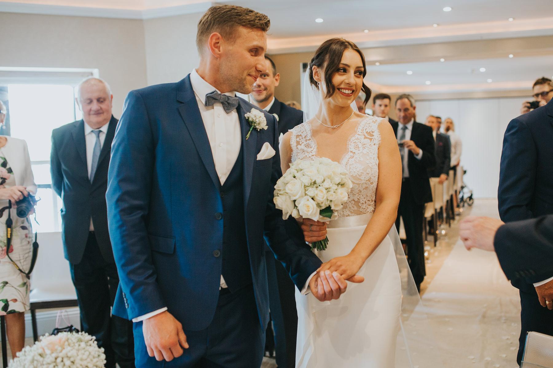 The Bingham Wedding Photographer London--groom waiting bride coming down aisle-CRL-133.jpg