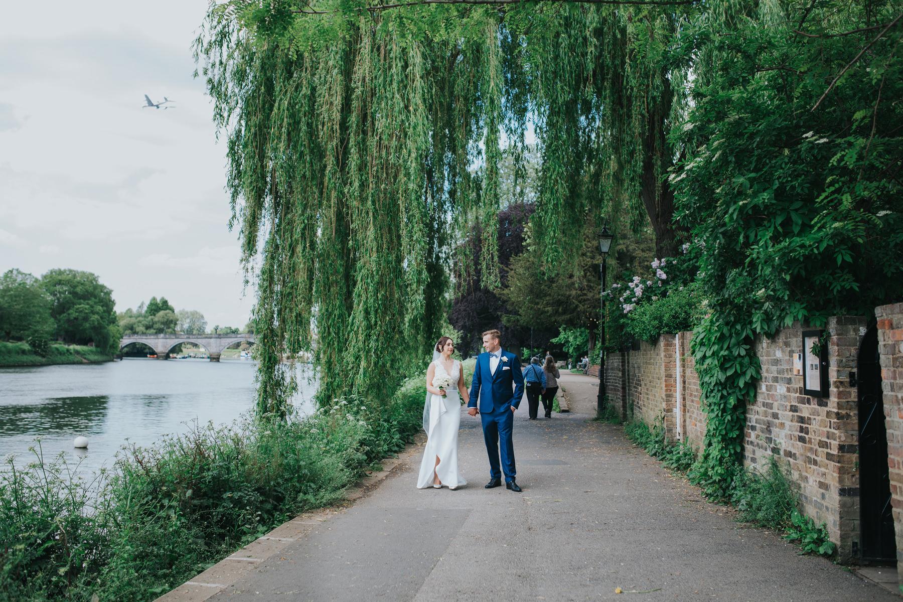 CRL-335-The Bingham wedding Richmond-Claire Rob bridal couple portraits on Thamespath.jpg