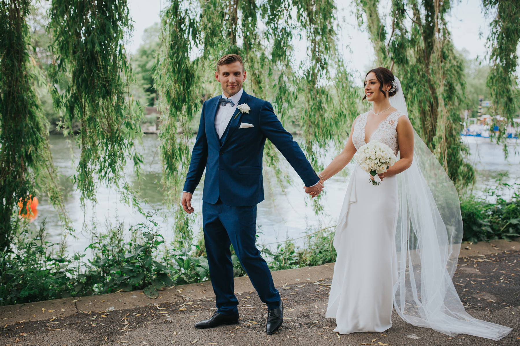 CRL-355-The Bingham wedding Richmond-Claire Rob bridal couple portraits on Thamespath.jpg