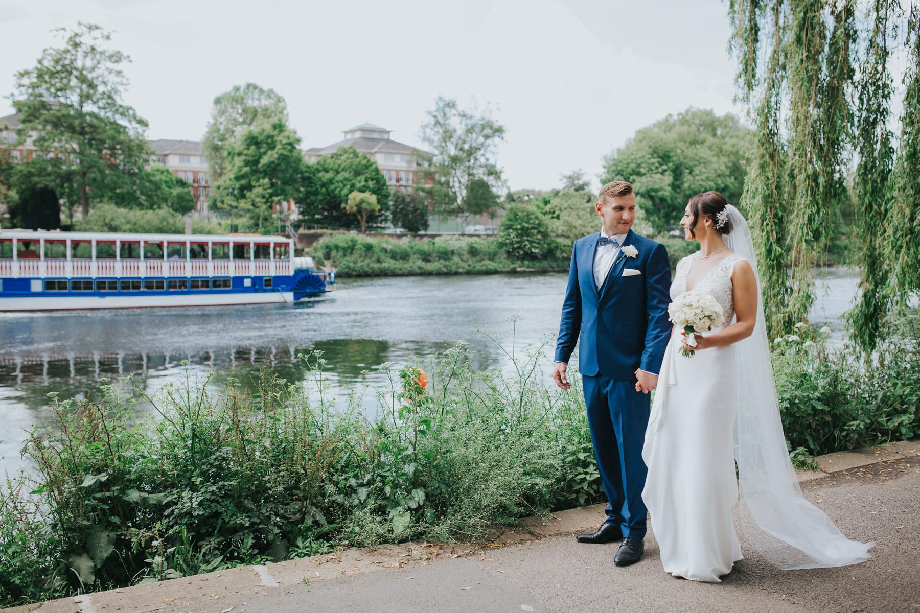 CRL-358-The Bingham wedding Richmond-Claire Rob bridal couple portraits on Thamespath.jpg