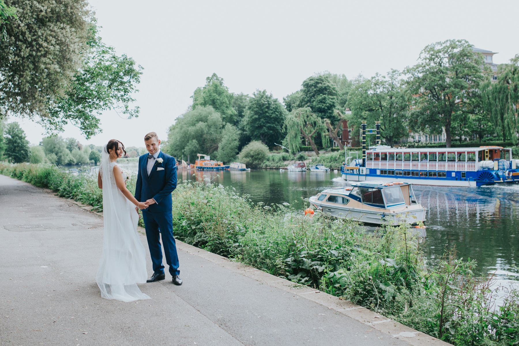 CRL-359-The Bingham wedding Richmond-Claire Rob bridal couple portraits on Thamespath.jpg