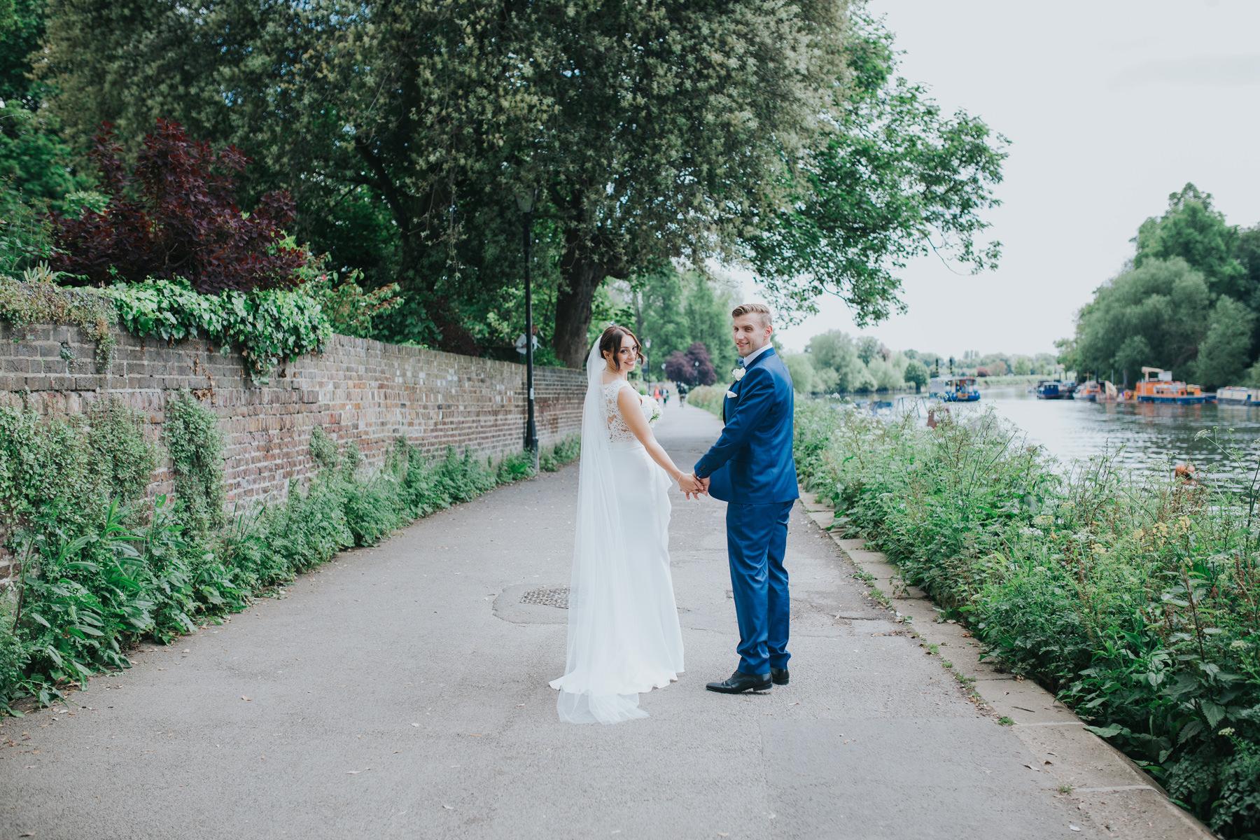 CRL-363-The Bingham wedding Richmond-Claire Rob bridal couple portraits on Thamespath.jpg