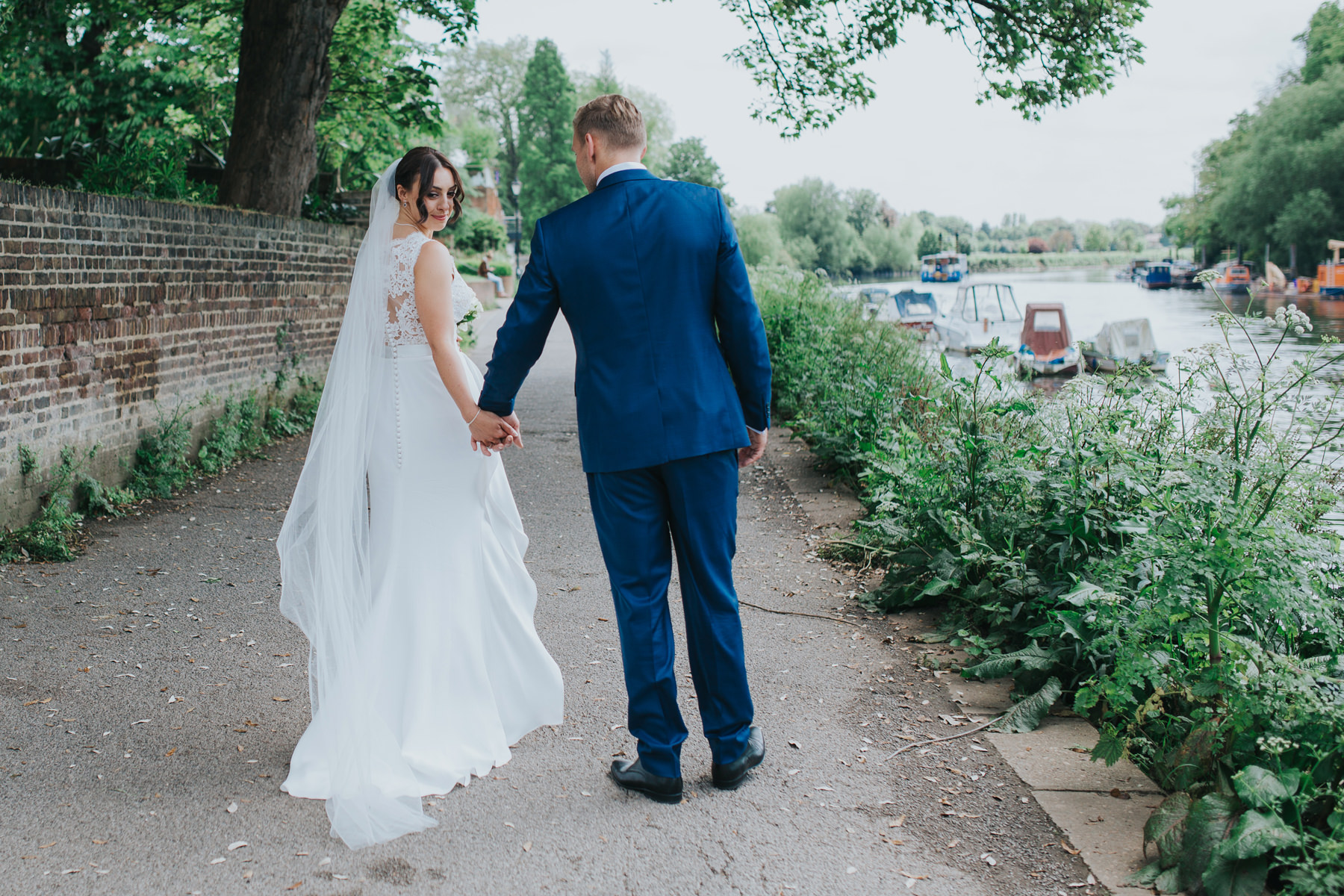 CRL-367-The Bingham wedding Richmond-Claire Rob bridal couple portraits on Thamespath.jpg