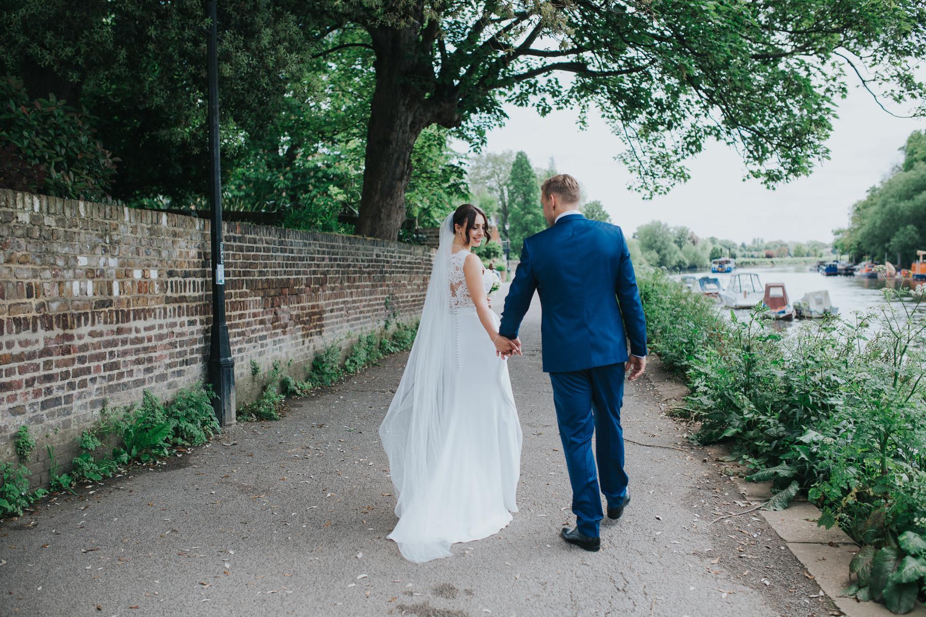 CRL-368-The Bingham wedding Richmond-Claire Rob bridal couple portraits on Thamespath.jpg