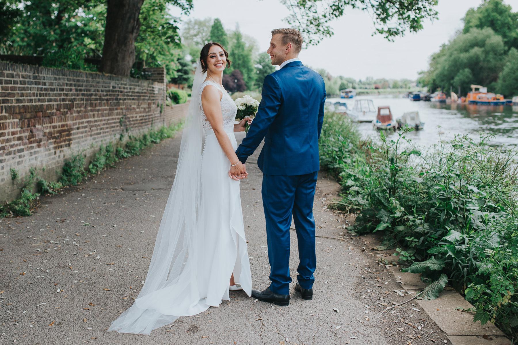 CRL-369-The Bingham wedding Richmond-Claire Rob bridal couple portraits on Thamespath.jpg