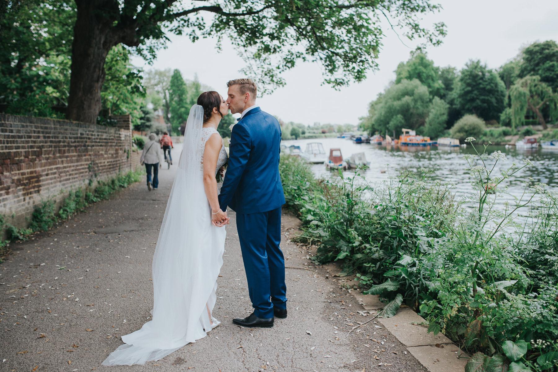 CRL-372-The Bingham wedding Richmond-Claire Rob bridal couple portraits on Thamespath.jpg