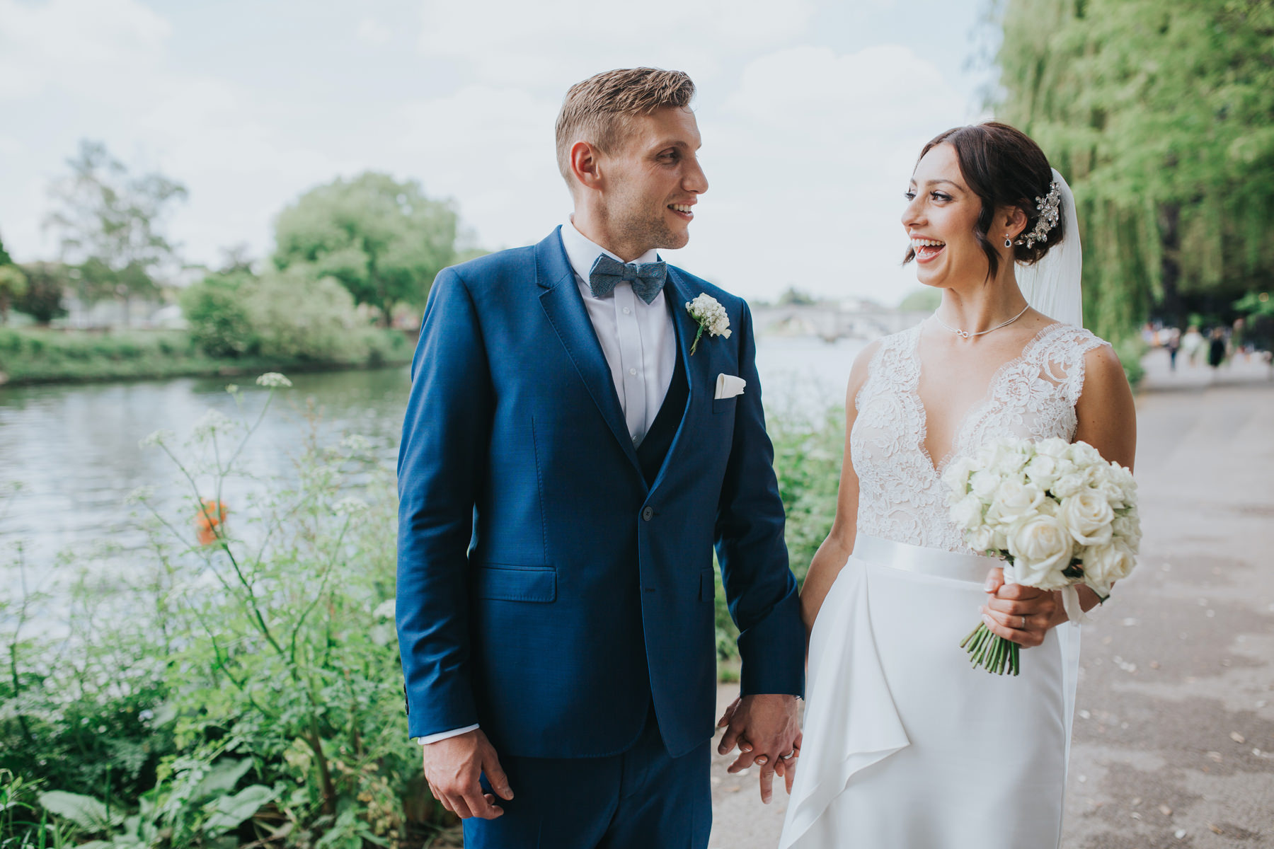 CRL-380-The Bingham wedding Richmond-Claire Rob bridal couple portraits on Thamespath.jpg