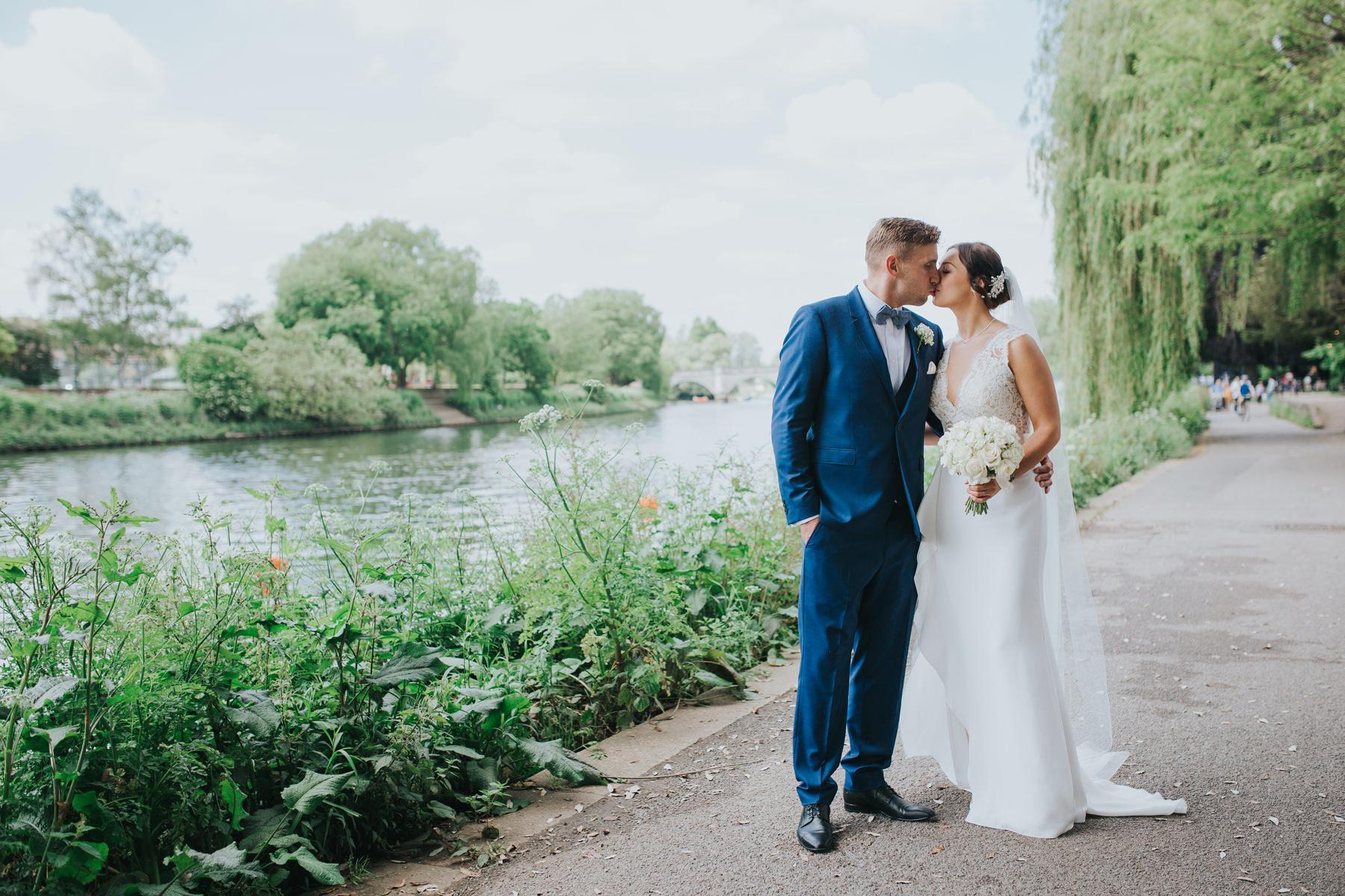 CRL-386-The Bingham wedding Richmond-Claire Rob bridal couple portraits on Thamespath.jpg