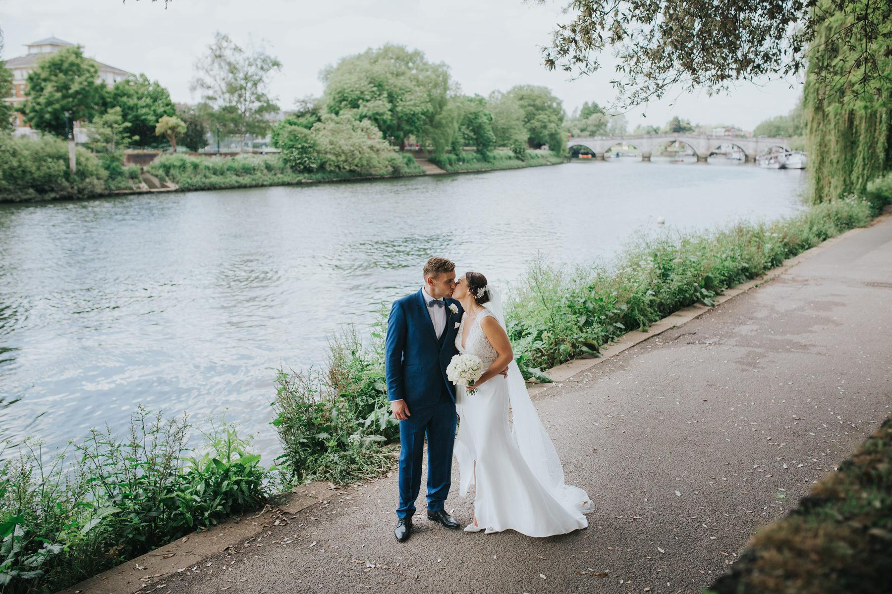 CRL-401-The Bingham wedding Richmond-Claire Rob bridal couple portraits on Thamespath.jpg