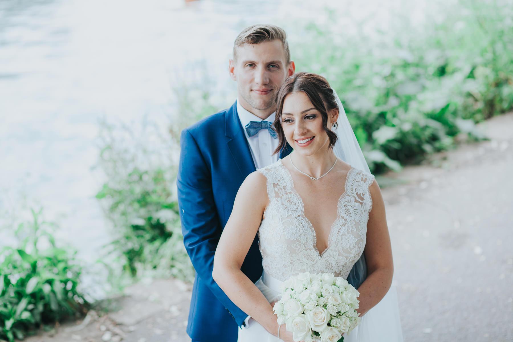 CRL-416-The Bingham wedding Richmond-Claire Rob bridal couple portraits on Thamespath.jpg