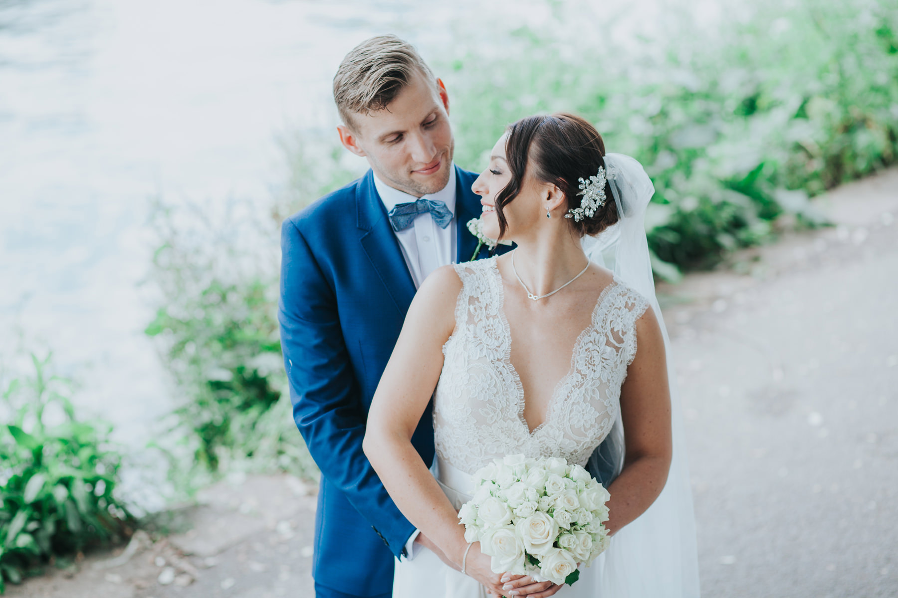 CRL-417-The Bingham wedding Richmond-Claire Rob bridal couple portraits on Thamespath.jpg