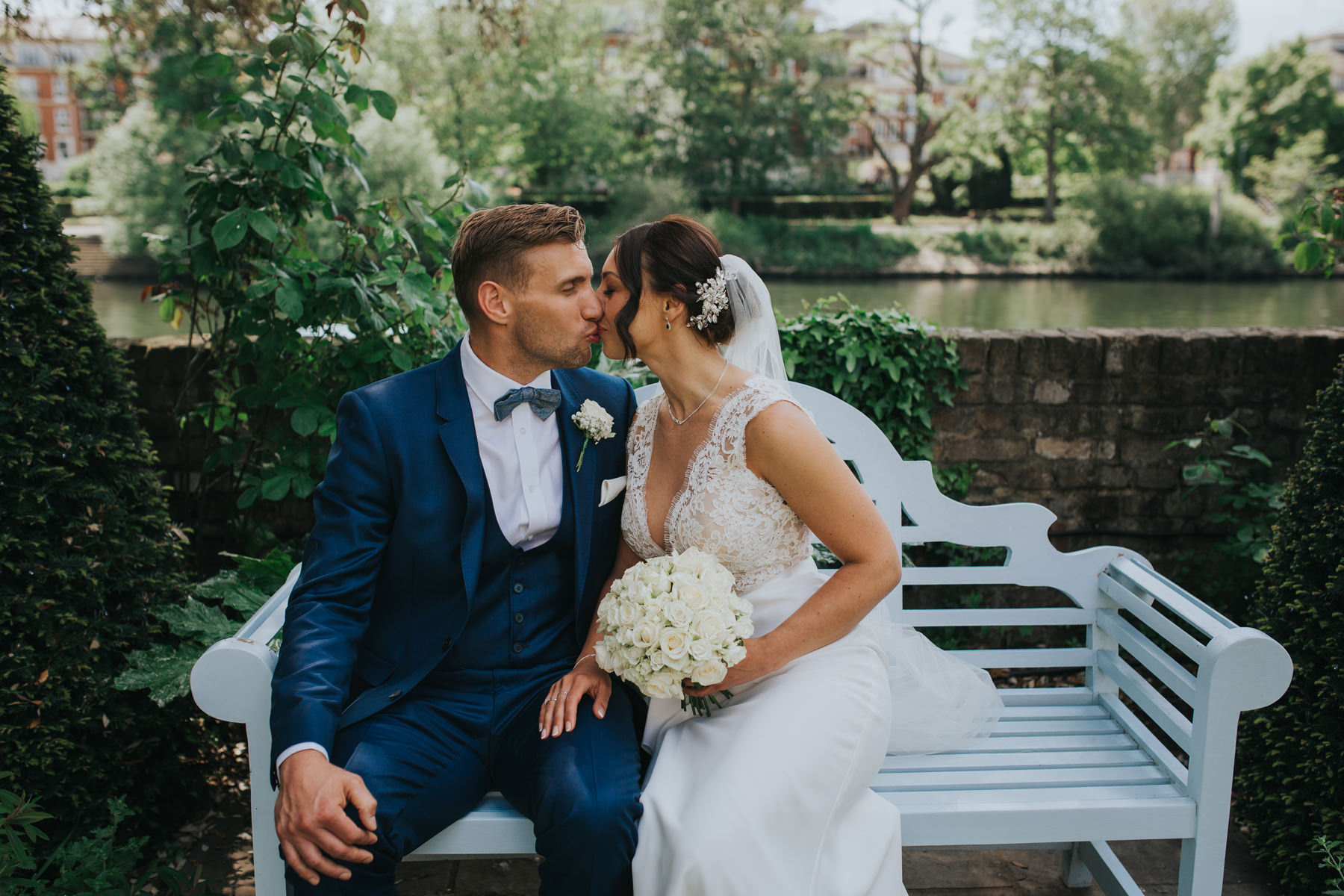 CRL-440-Richmond wedding photographer-The Bingham Claire Rob on garden bench.jpg