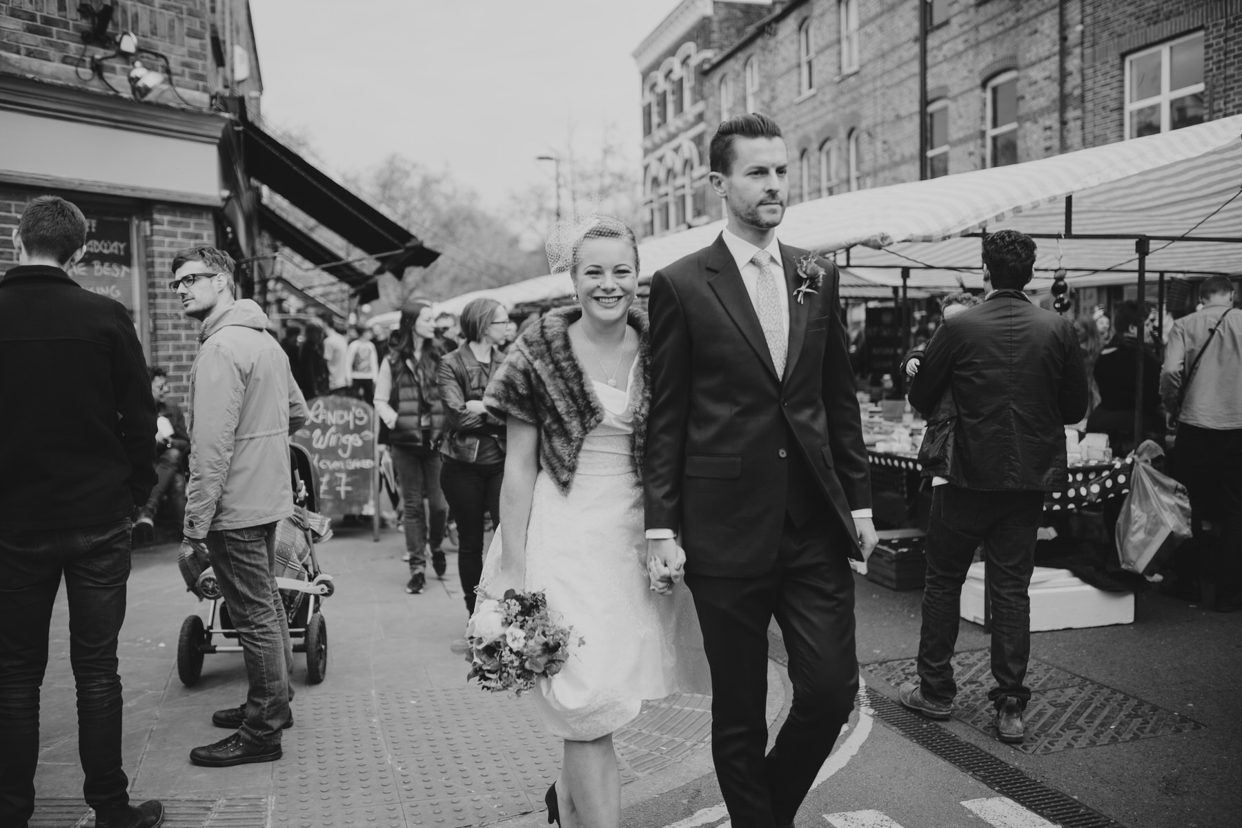 BW reportage wedding portraits Broadway Market Hackney photos