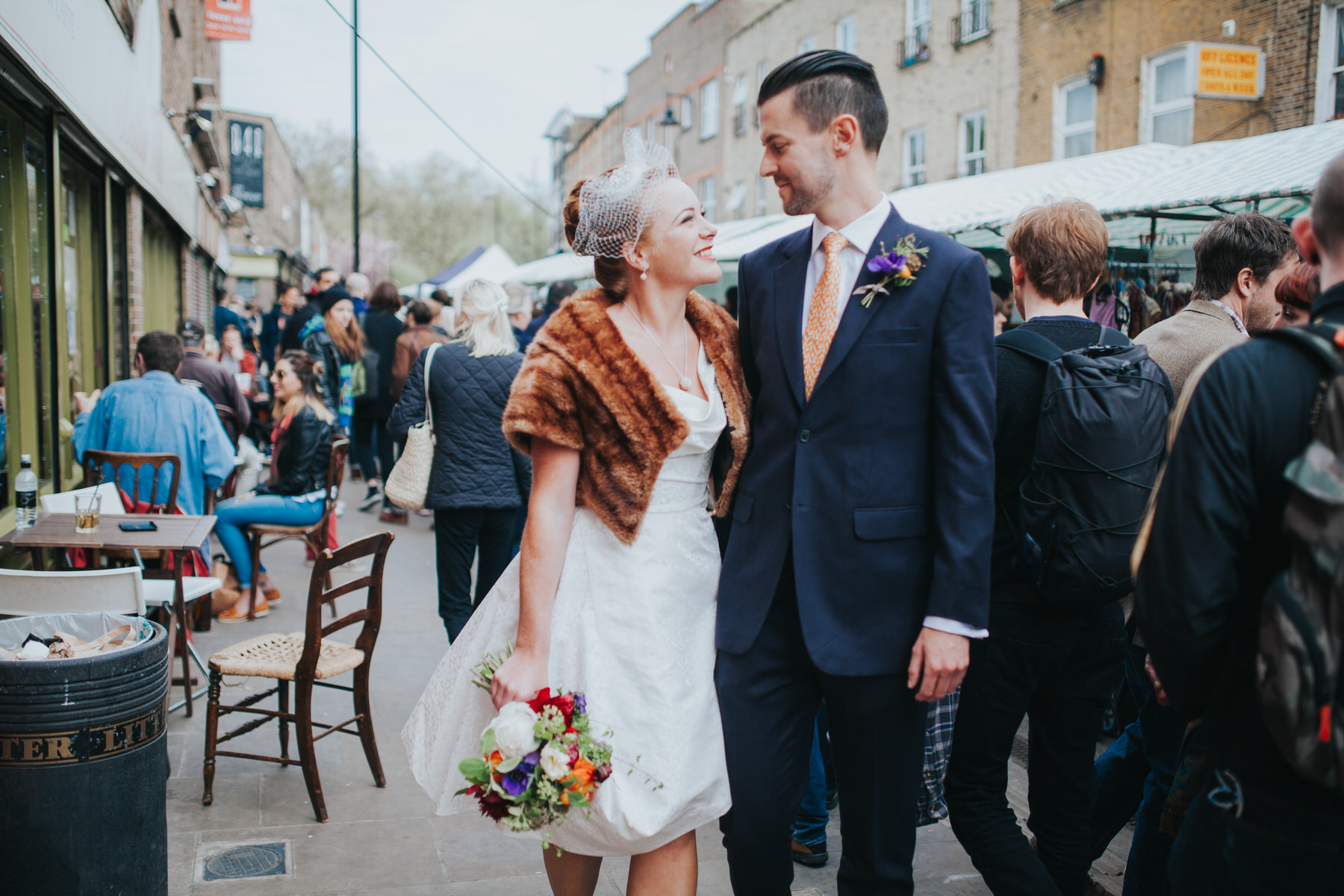 quirky couple wedding portraits Broadway Market London wedding