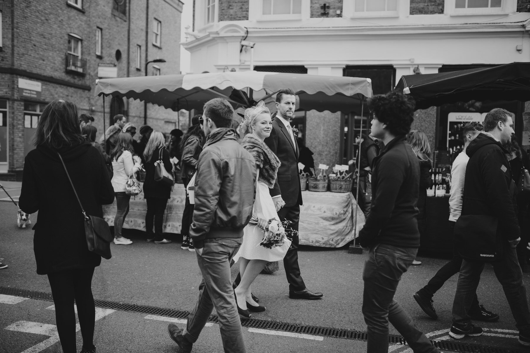 London wedding documentary style couple portraits busy market