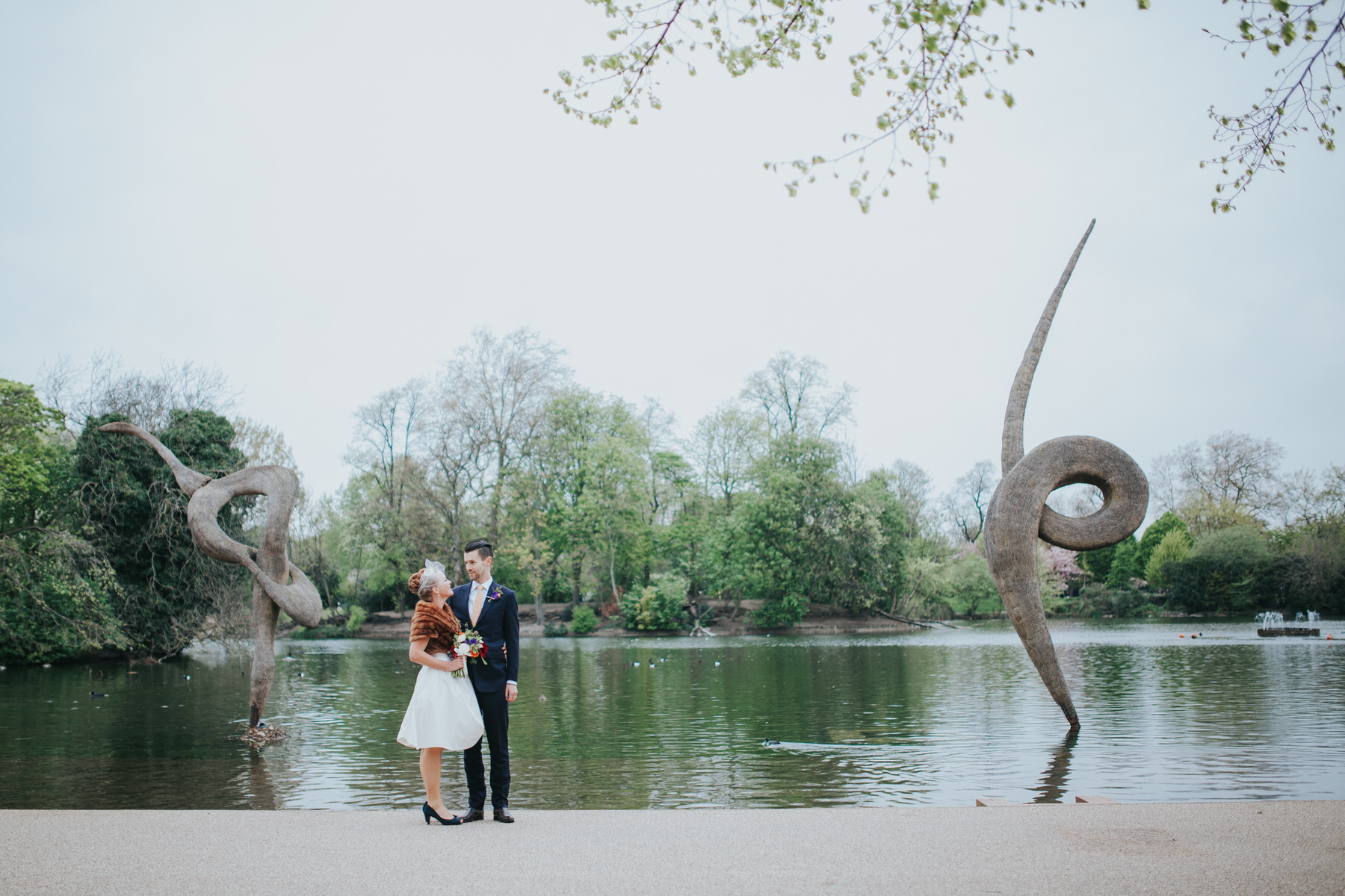 MS-Londesborough-Pub-wedding-Hackney-alternative-photographer-152-just-married-quirky-bride-groom-lake-Victoria-Park.jpg