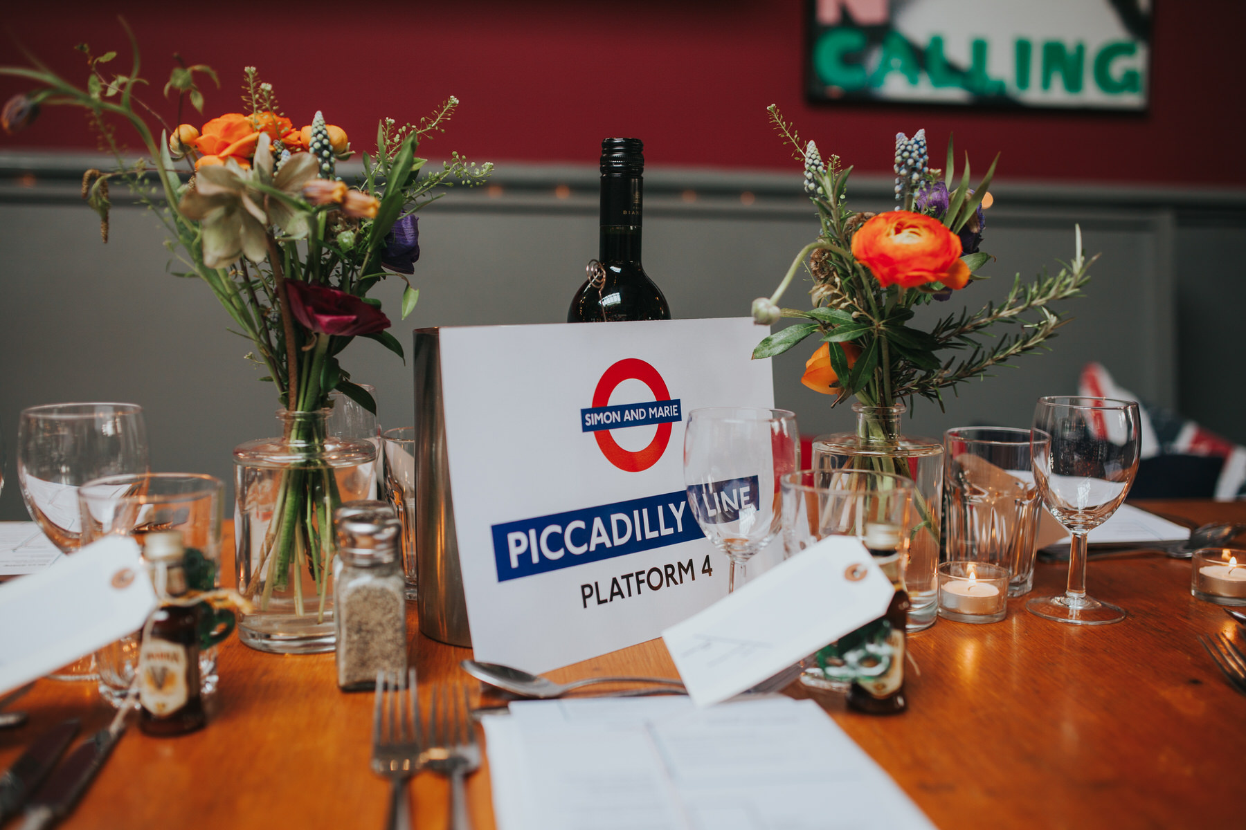 London Tube inspired Londesborough Pub wedding