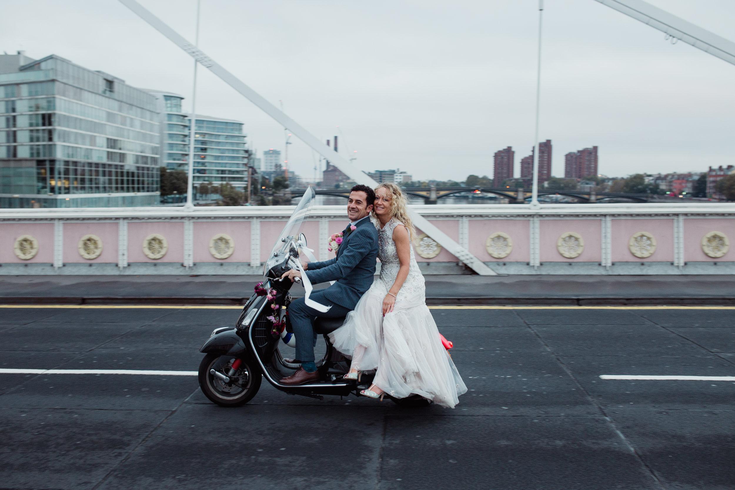 boho bride on vespa during sunrise London wedding photographer