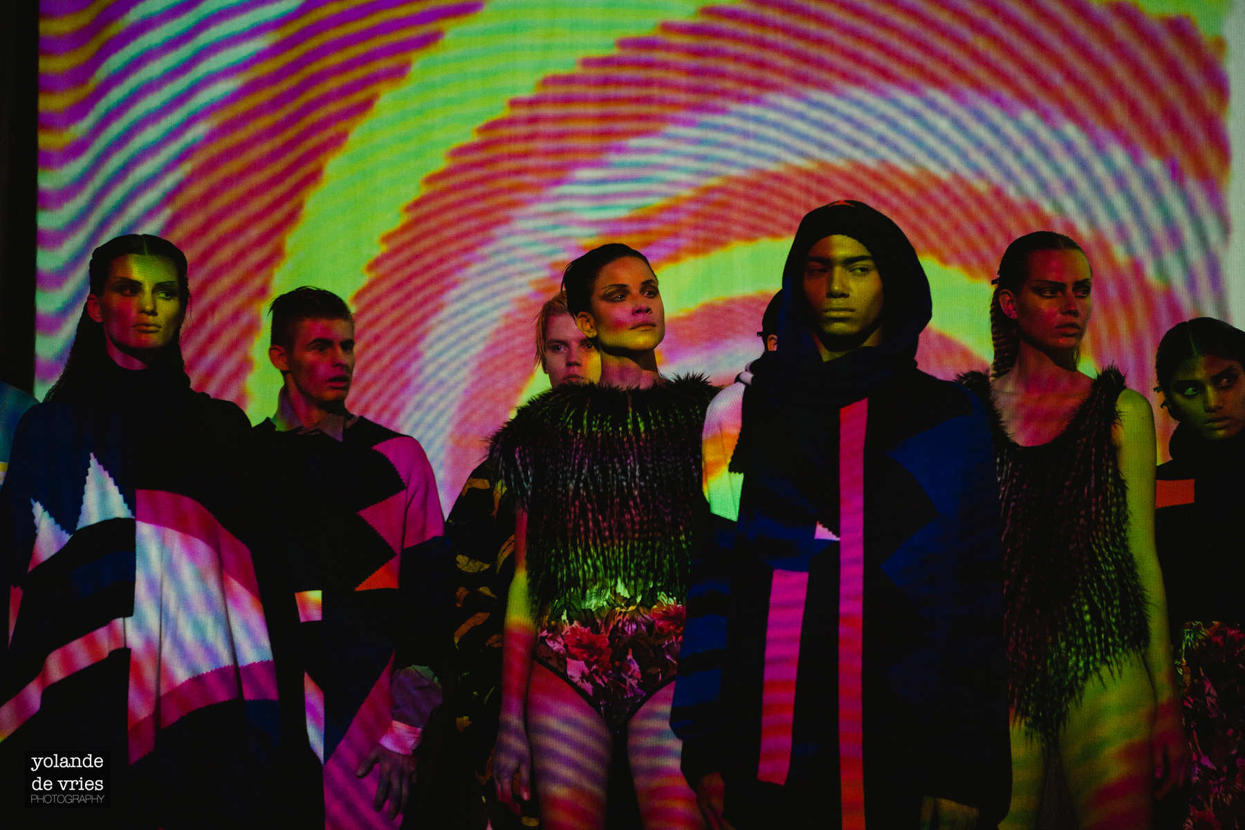 multicolour backdrop on models Horace AW11 fashion reportage
