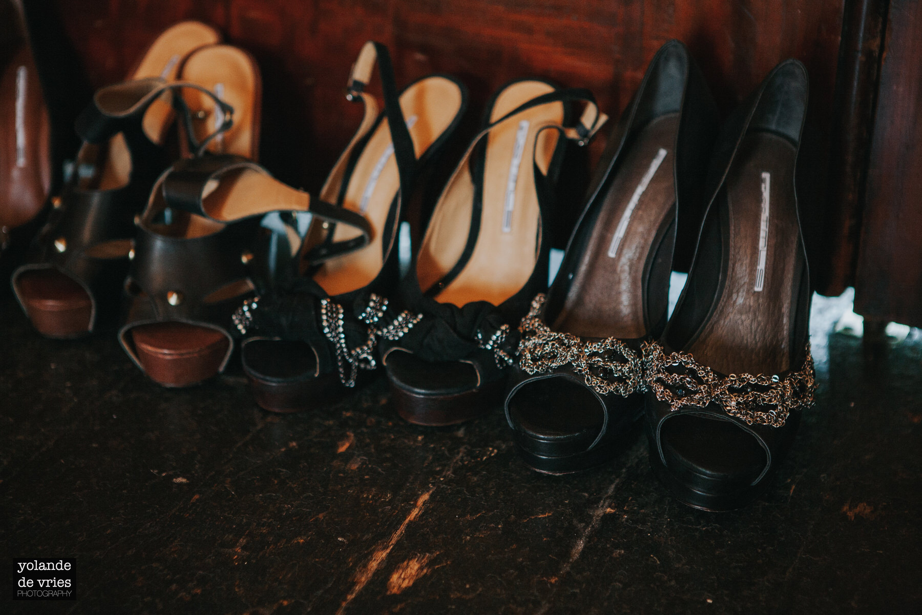 row of heels backstage fashion reportage