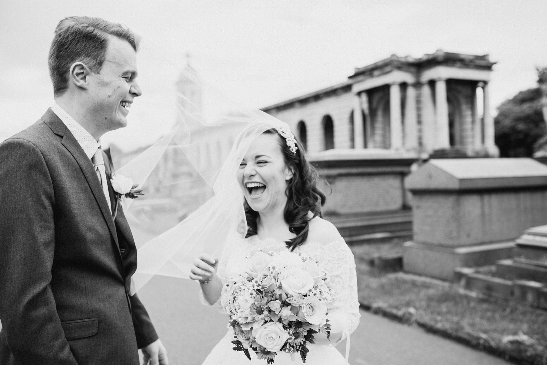 148 BW flyaway veil groom bride wedding portraits Brompton Cemetery.jpg