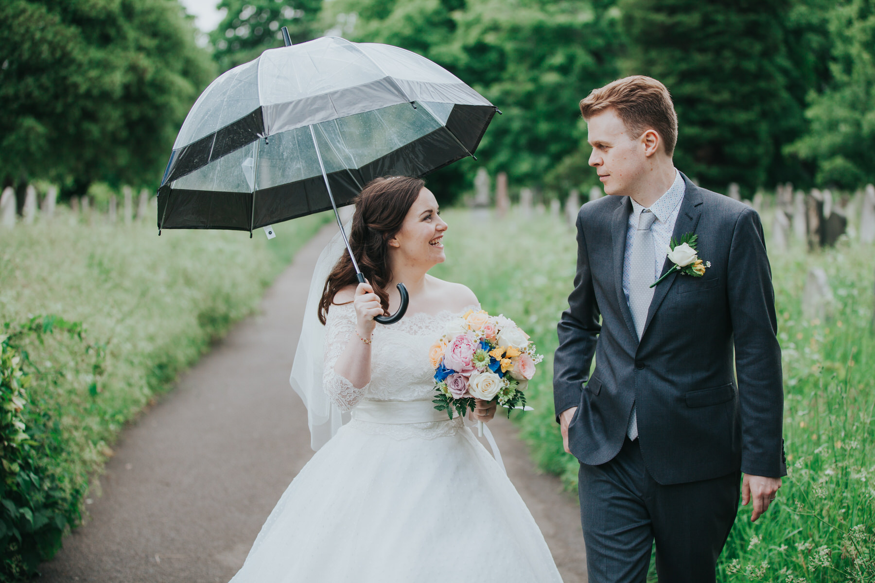 189 groom bride see through umbrella wedding portraits Brompton Cemetery.jpg
