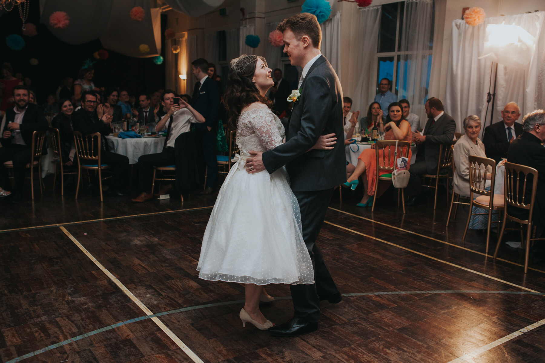 253 bride first dance groom school hall wedding reception London.jpg